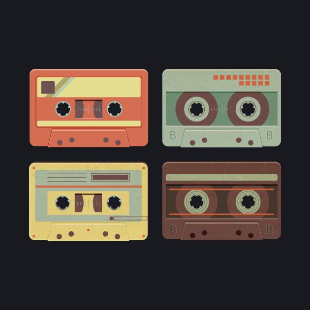 Cassette Tapes Music Mixtape Vintage Retro 80s Tech T-Shirt