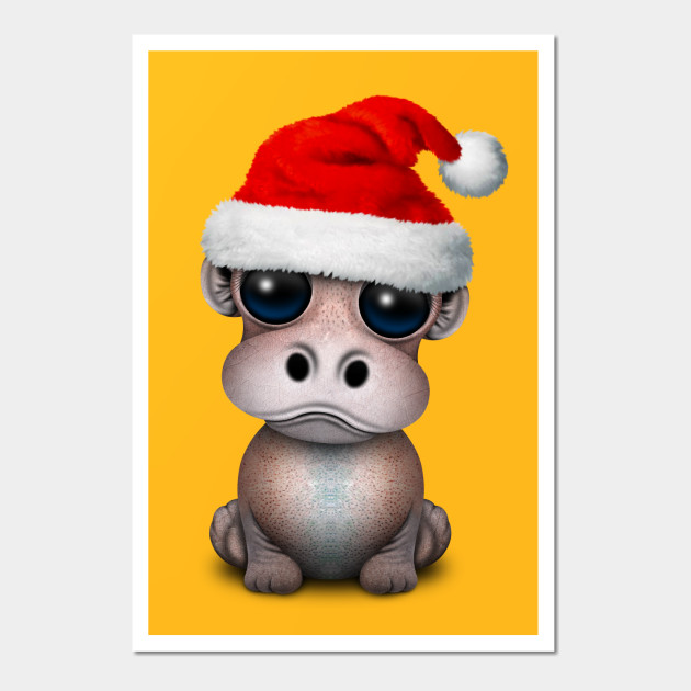 Baby Hippo Wearing a Santa Hat - Christmas - Wall Art   TeePublic
