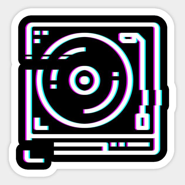 Retro Glitch Vinyl Record DJ Turntable