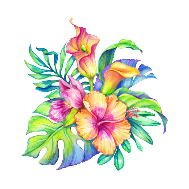 Colorful tropical Flowers Bouquet Design - Tropical Flowers - Phone ...