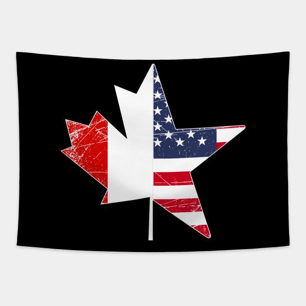 USA Flag Maple Leaf Canada