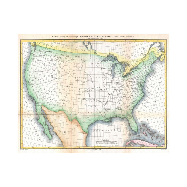 Vintage United States Magnetic Declination Map United States Map - Magnetic declination map us