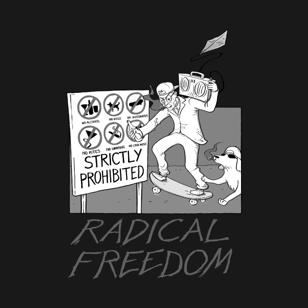 Radical Freedom at the Beach (black and white)