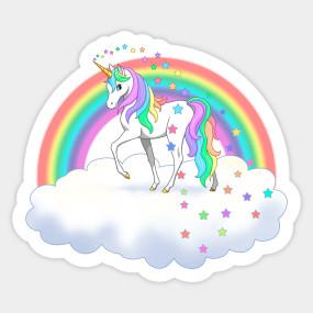 Pretty Rainbow Unicorn And Stars Unicorns Tapestry