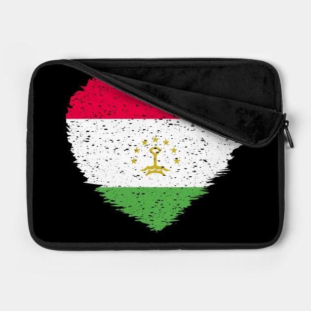 Tajikistan Grunge Distress Heart Flag Design