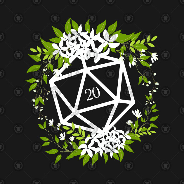 Floral D20 Dice for Plant Lovers