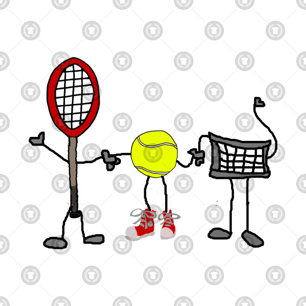 Funny Tennis Racket Net And Ball Cartoon Characters Tennis T
