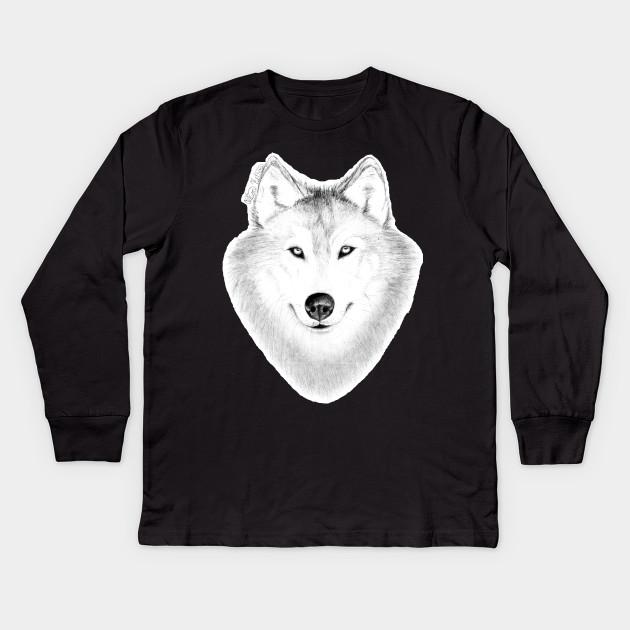 c764213f Smiling Wolf - Wolf - Kids Long Sleeve T-Shirt | TeePublic