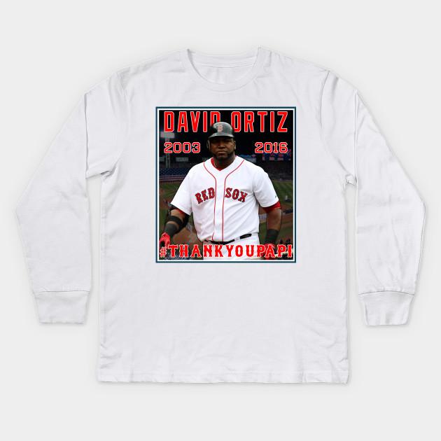 0a4b3b169ff Red Sox  THANKYOUPAPI 34 - David Ortiz - Redsox - Kids Long Sleeve T ...