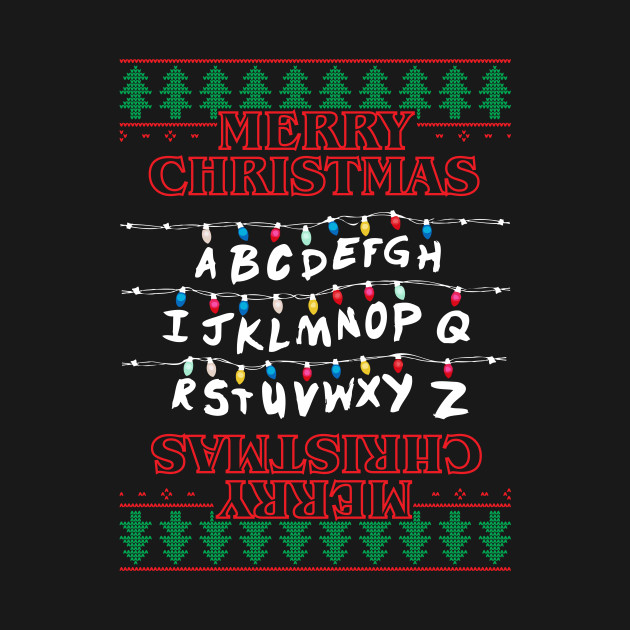 A Stranger Things Christmas.Stranger Things Merry Christmas Lights Knit