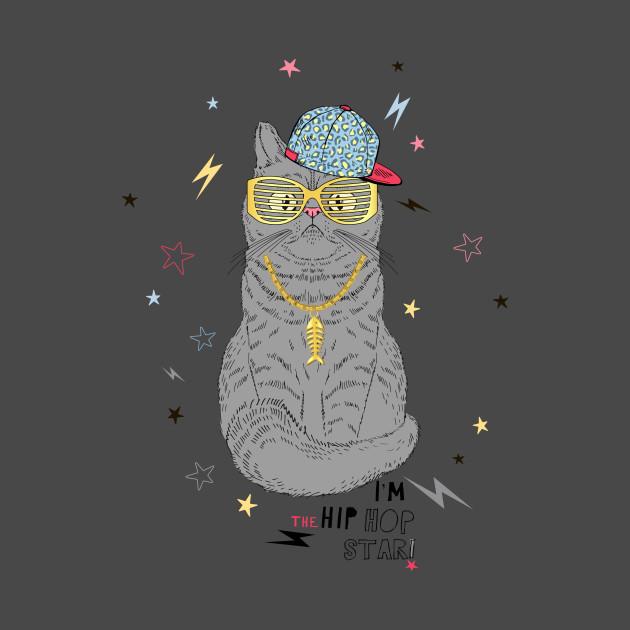 Hip Hop Cat Funny Cat T Shirt Teepublic