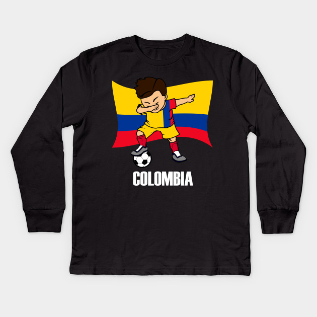 19d5ee1dd Dabbing Soccer Boy Colombia Soccer Jersey Colombia Flag Kids Long Sleeve T- Shirt