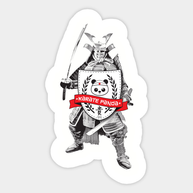 Karate panda ronin with shield sticker