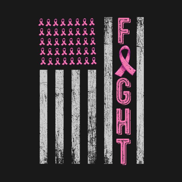 Pink Ribbon Distressed Flag Sweatshirt Breast Cancer Awareness