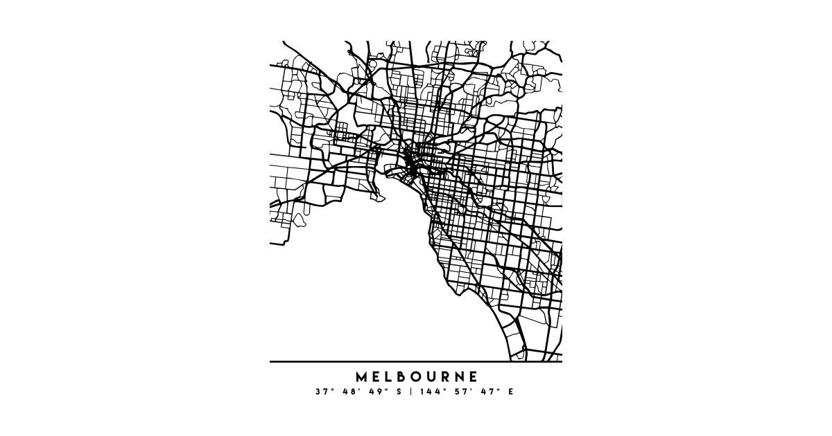 Australia Map Art.Melbourne Australia Black City Street Map Art By Deificusart