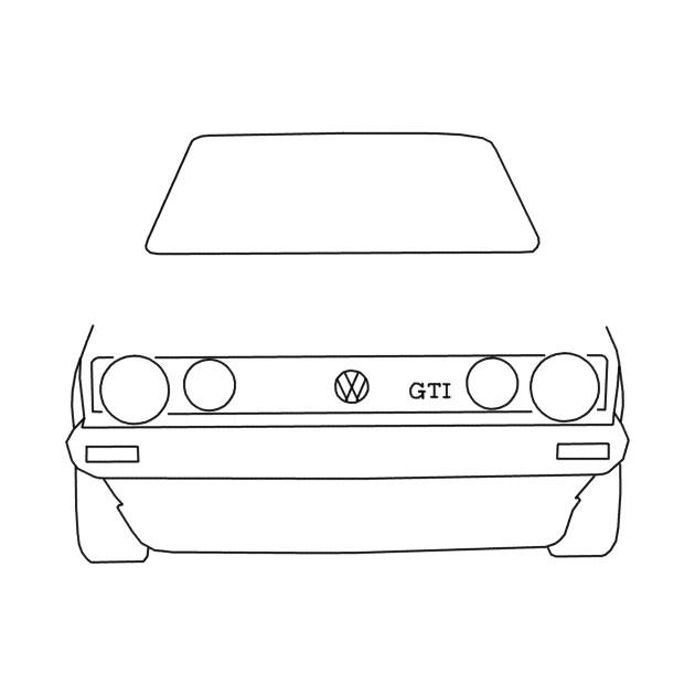bd1f35fd2 VW Golf GTI Mk 1 outline graphic (black) - Golf - T-Shirt   TeePublic