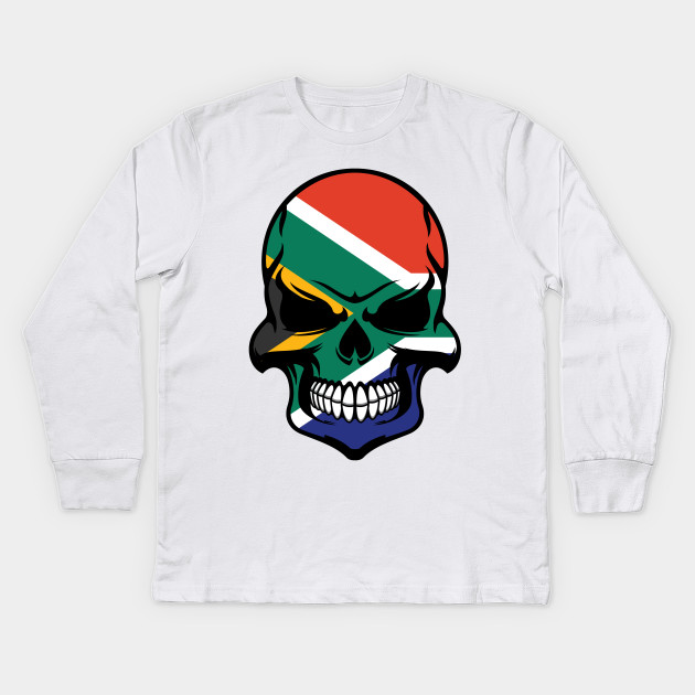 South African Flag Skull - South Africa - Kids Long Sleeve T-Shirt ... 106919827e3