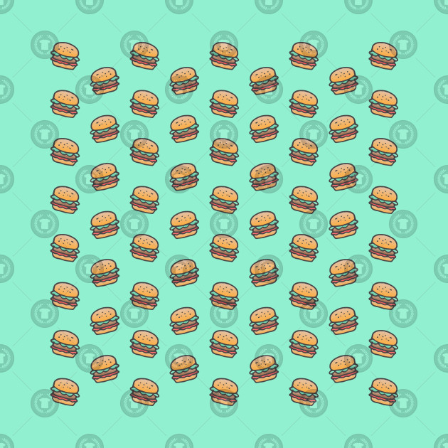 Burger Pattern on Mint Green
