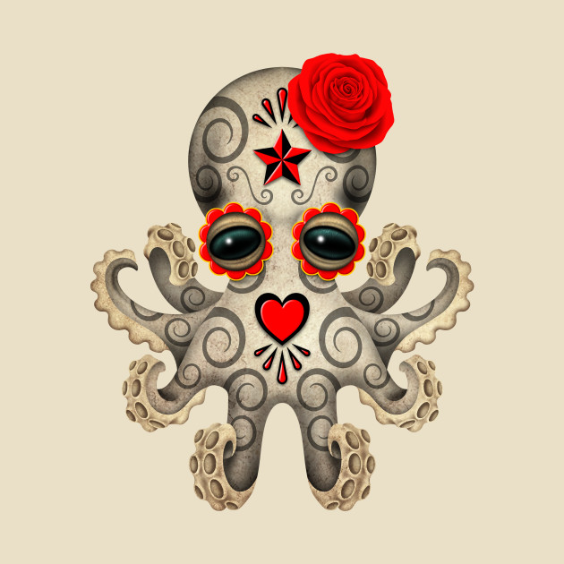 Red Day of the Dead Sugar Skull Baby Octopus