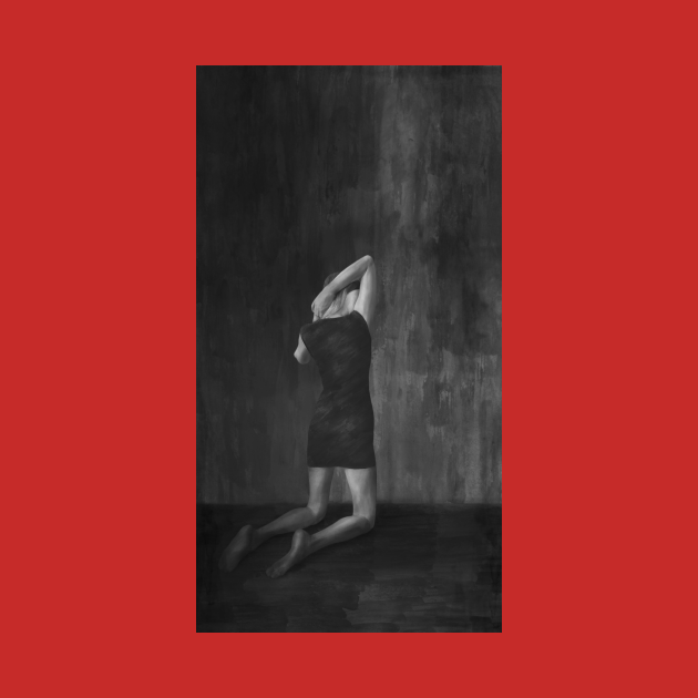 Girl painting on red