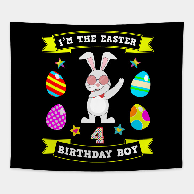 4 Year Old Easter Bunny 4th Birthday Boy Dabbing Gift Tapestry