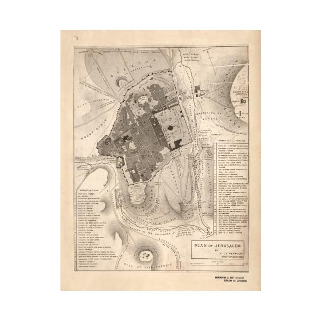 Vintage Map of Jerusalem Israel (1835) - Jerusalem Map - Kids T ...