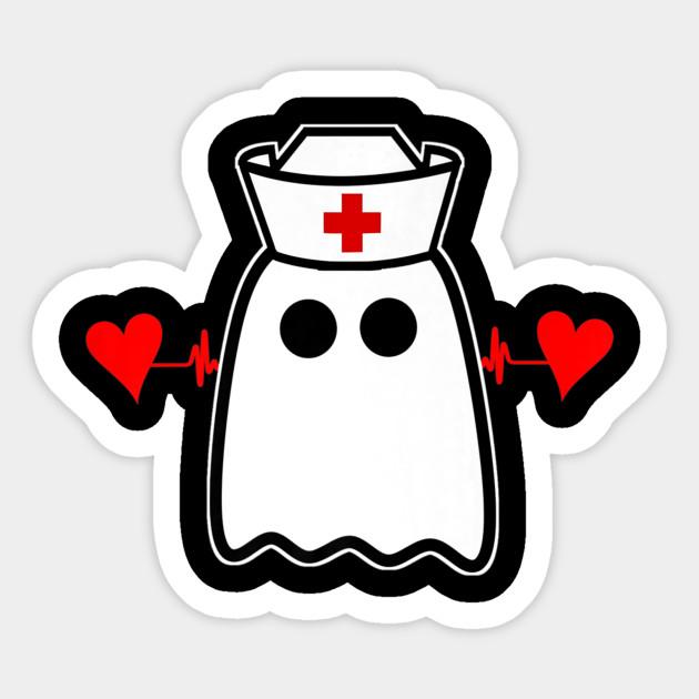 Funny Rn Nurse Nurses Halloween Fall Ghost Nurse Hat Tee Premium