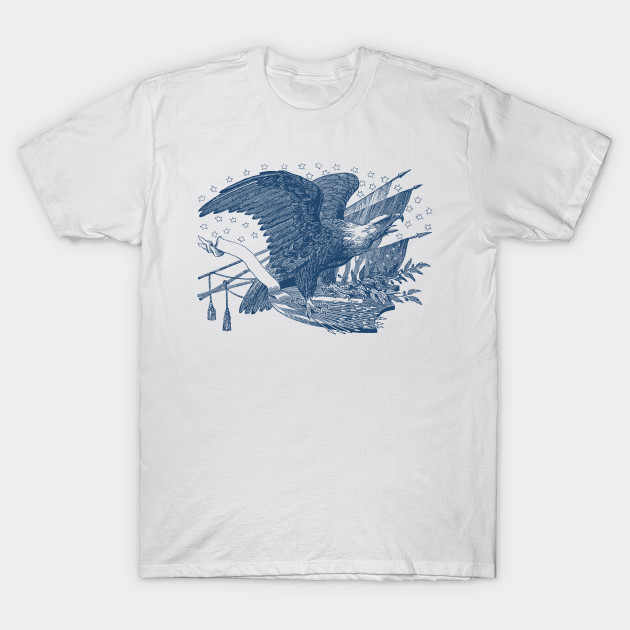 24f6ae1ad44 Screaming Bald Eagle on USA Shield Arrows and Olive Branches T-Shirt