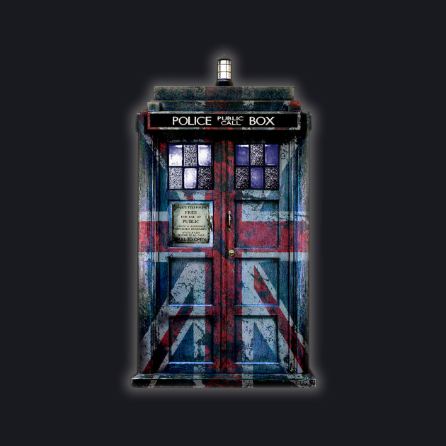Blue Phone Booth with rustic british flag paint