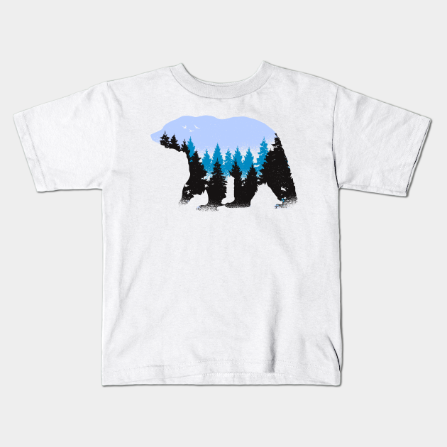Wild Animal Nature Art Bear With Blue Trees