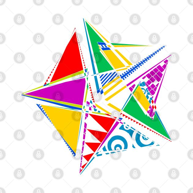Data Art Maurer Rose   Abstract Funky Geometric Star White