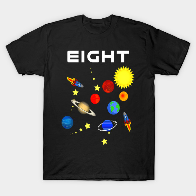 8 Year Old Outer Space Birthday Party 8th Shirt T