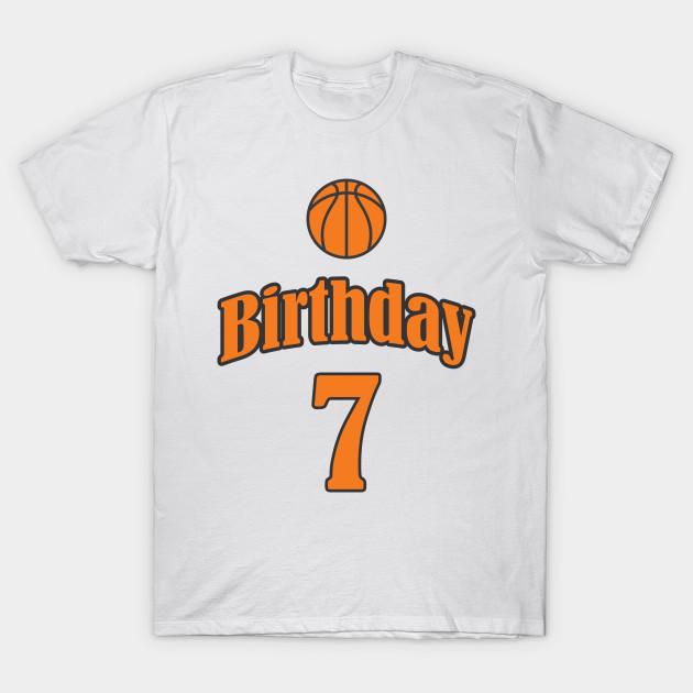 7th Birthday Basketball Funny Boy Girl Kids Gift T Shirt