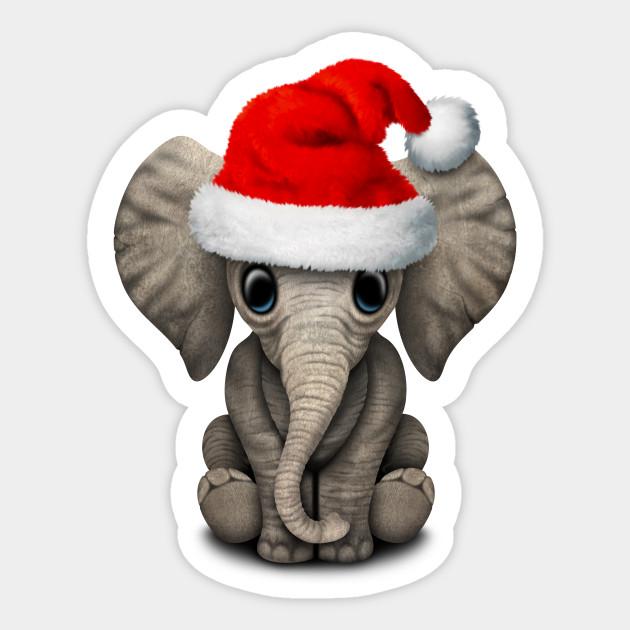 Baby Elephant Wearing a Santa Hat - Christmas - Sticker  471c7644316