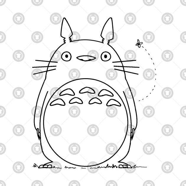 Totoro Line Art   My Neighbour Totoro   Studio Ghibli   Black