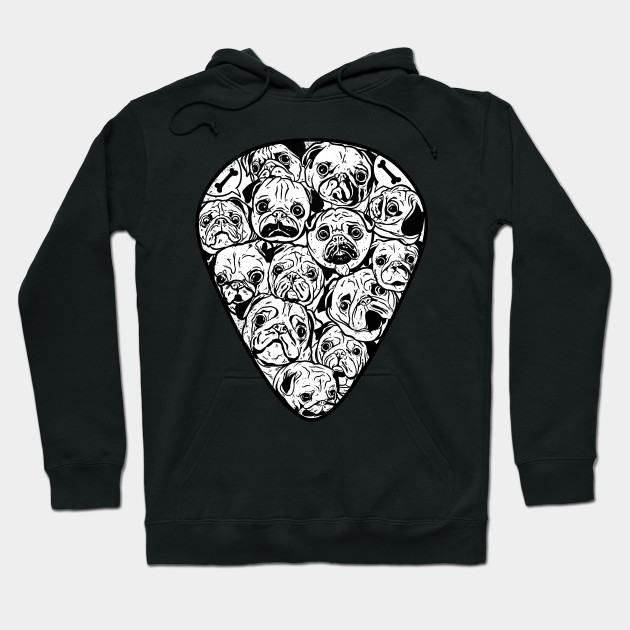 Guitar Pick Pugs - Funny Guitarist & Pug Dog Owner Hoodie