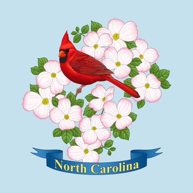 north carolina state cardinal bird dogwood flower t shirt north carolina state cardinal bird dogwood flower north carolina state cardinal bird