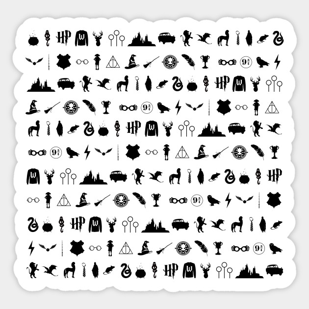 Hp Harry Potter Symbols Texture Pattern Black Deahtly Hallows