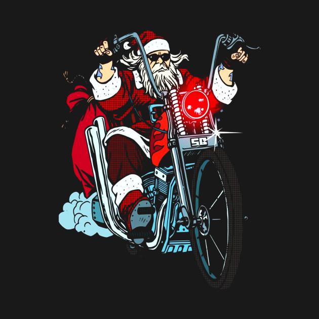 Biker Christmas.Santa Claus Biker Motorcycle Christmas T Shirt