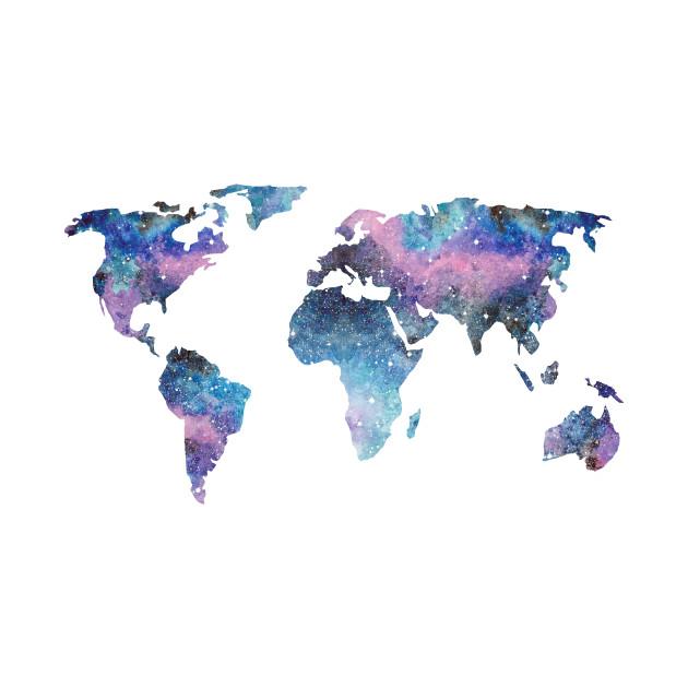 Watercolor Galaxy World Map
