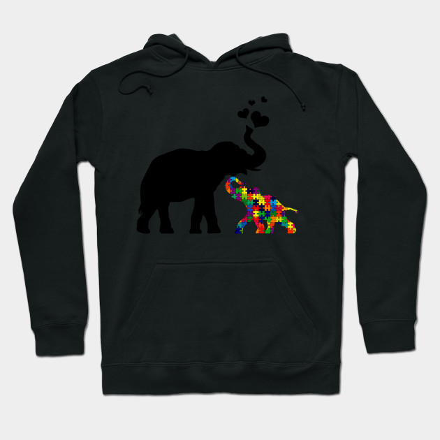 1bcd7445bd8e Elephant with baby autism - Autism Baby Elephant And Mama - Hoodie ...