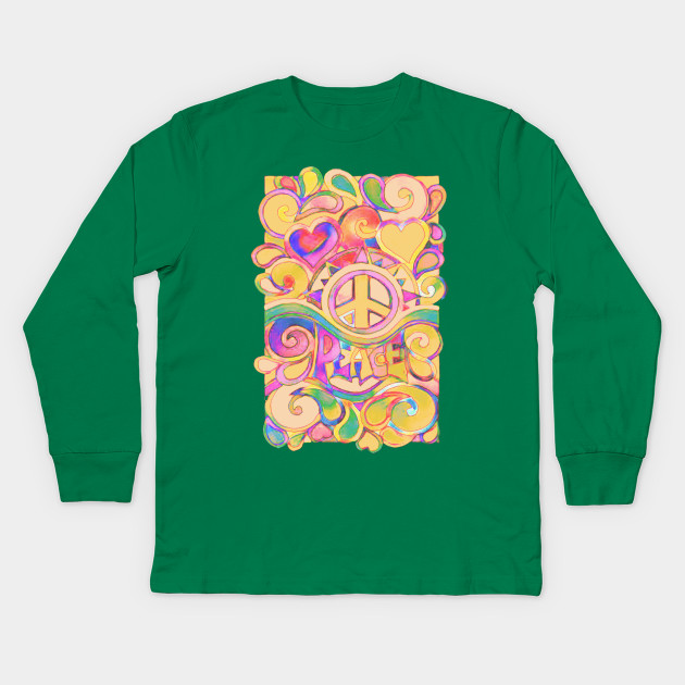 11f09bcd Pastel Peace and Love Art - Peace And Love - Kids Long Sleeve T ...