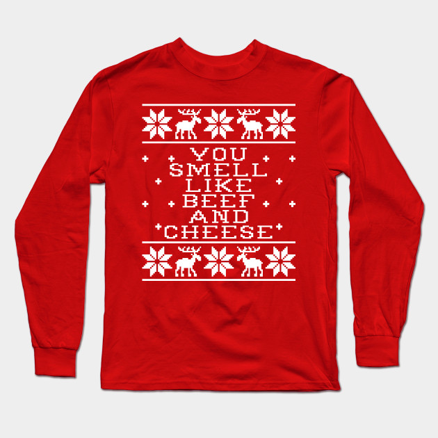 You Smell Like Beef And Cheese - Elf Movie Quote - Ugly Christmas Sweater  Design