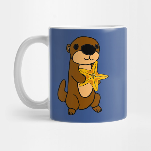 d909932ad Cute Baby Sea Otter with Starfish Cartoon - Sea Otter - Mug | TeePublic