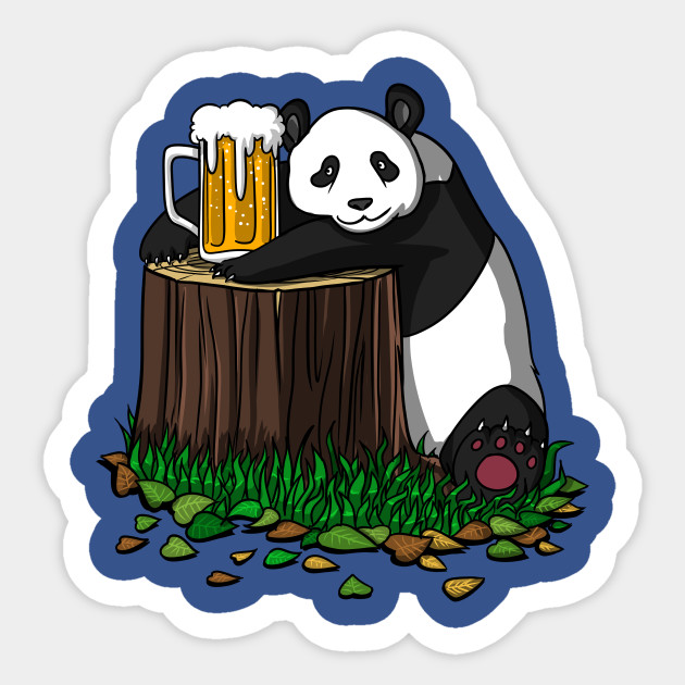 cute panda bear drinking beer mug funny - panda beer - sticker