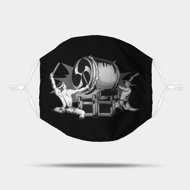 Male Taiko Odaiko Drummers Black & White Illustration