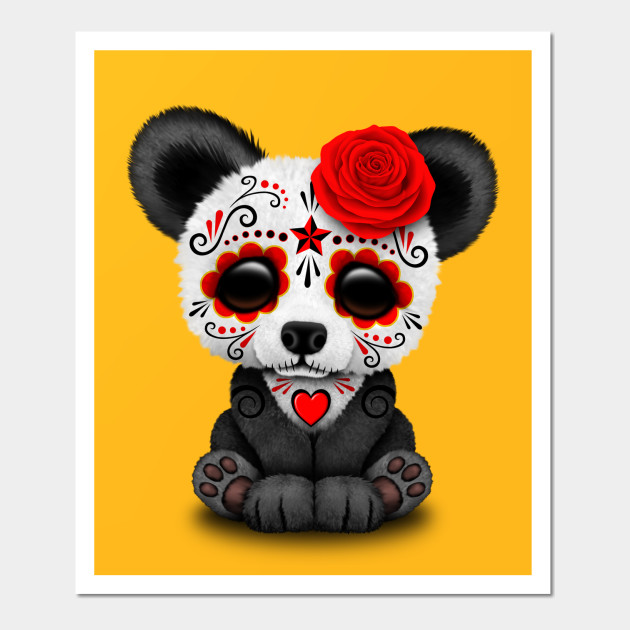 Red Day of the Dead Sugar Skull Panda - Day Of The Dead - Wall Art ...