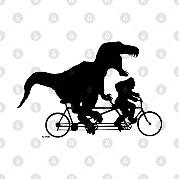 Gone Squatchin cycling with T-rex