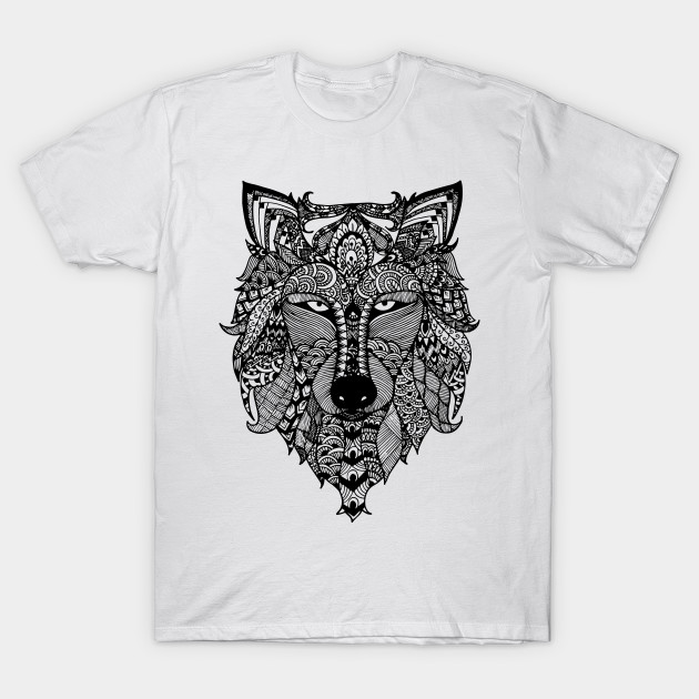 zentangle wolf pen art t shirt teepublic. Black Bedroom Furniture Sets. Home Design Ideas