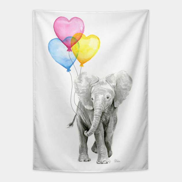 Elephant Watercolor Heart Shaped Balloons